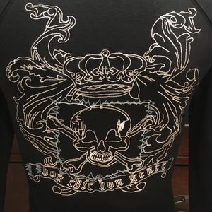 BCBG Embroidered Skull Hoodie Size XS